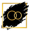 wedding rings sign golden icon at black vector image
