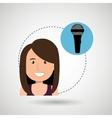 woman microphone audio speaker vector image