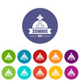zombie dark icons set color vector image vector image
