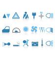 blue car dashboard icons set vector image