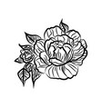 black and white drawing of a rose tattoo vector image