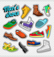 mens fashion doodle male footwear stickers vector image