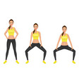 young woman make squats exercises with hands on vector image