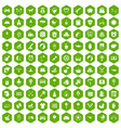 100 nursery icons hexagon green vector image vector image