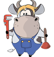 A little cow plumber Cartoon vector image