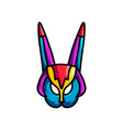 abstract colorful mask with long ears and bird vector image vector image