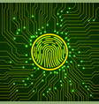 abstract neon sign fingerprint on circuit board vector image vector image
