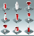 alcohol color gradient isometric icons vector image