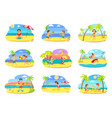 beach relaxation kids children on vacation vector image vector image