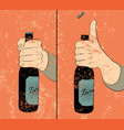 beer bottle instruction vintage grunge poster vector image