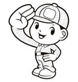 black and white soldier mascot salute isolated on vector image