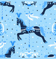 blue carousel horse seamless pattern vector image vector image
