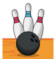 bowling ball pins sport game vector image vector image