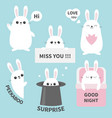 bunny rabbit sticker emotion emoji icon set miss vector image