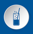 carbonated drink straw - blue icon white button vector image
