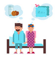 cartoon couple before going to sleep in bed vector image