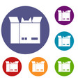 cat in a cardboard box icons set vector image vector image