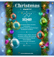 christmas decoration placard with firtree branches vector image vector image