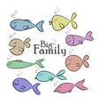 collection of nine fishes sketch printable card vector image vector image