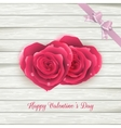 Couple Hearts of red roses on wood EPS 10 vector image vector image