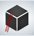 cube with red ladder concept success vector image