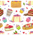delicious desserts seamless pattern design vector image