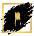 easel sign golden icon at black spot vector image