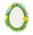 easter greeting card with narcissus vector image vector image