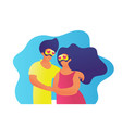 family in vr glasses trendy people flat valentines vector image