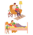 father with children reading bedtime story set vector image vector image