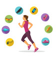 female running and tracking vector image