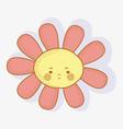 flower angry kawaii with cheeks and eyes vector image vector image
