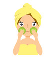 girl doing cucumber mask portrait flat cartoon vector image vector image