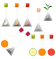 green black tea bags fruit tea clipart set vector image vector image