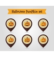 Halloween pumpkins mapping pin icon set vector image vector image