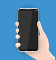 hand holds a modern realistic smartphone vector image