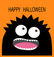 happy halloween card monster head with two eyes vector image