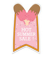 hot summer sale ribbon ice cream pink background v vector image