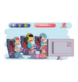 kids playing with video game console vector image