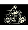 man ride a classic custom motorcycle vector image vector image
