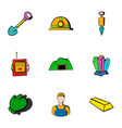 mine icons set cartoon style vector image vector image