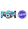 mosaic smart contract handshake icon with grunge vector image vector image