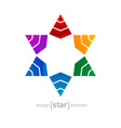 Original colorful Star of David on white ba vector image