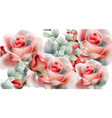 pink roses watercolor summer exotic floral vector image vector image