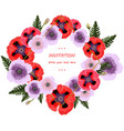 poppy flowers wreath floral background vector image