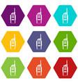 radio icon set color hexahedron vector image vector image