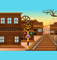 railroad in western town vector image vector image
