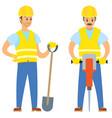 repairmen with shovel and jackhammer work vector image