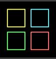retro neon square set isolated on black background vector image