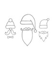santa hats moustache and beards christmas vector image